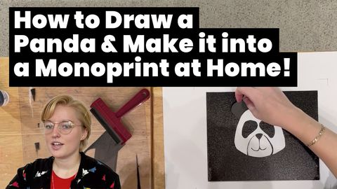 How to Draw a Panda & Make it into a Monoprint at Home!