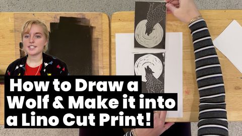 How to Draw a Wolf & Make it into a Lino Cut Print!